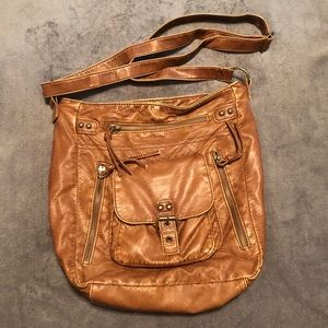 Brown Faux Leather Crossbody Purse